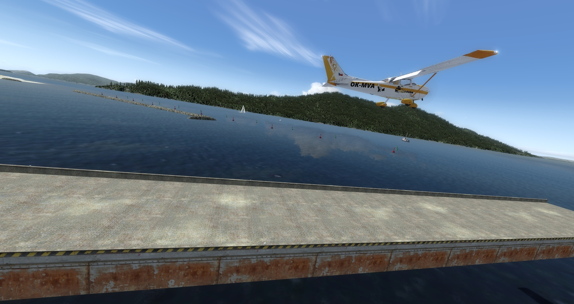Mouseviator Private Island - takeoff from raised runway platform.