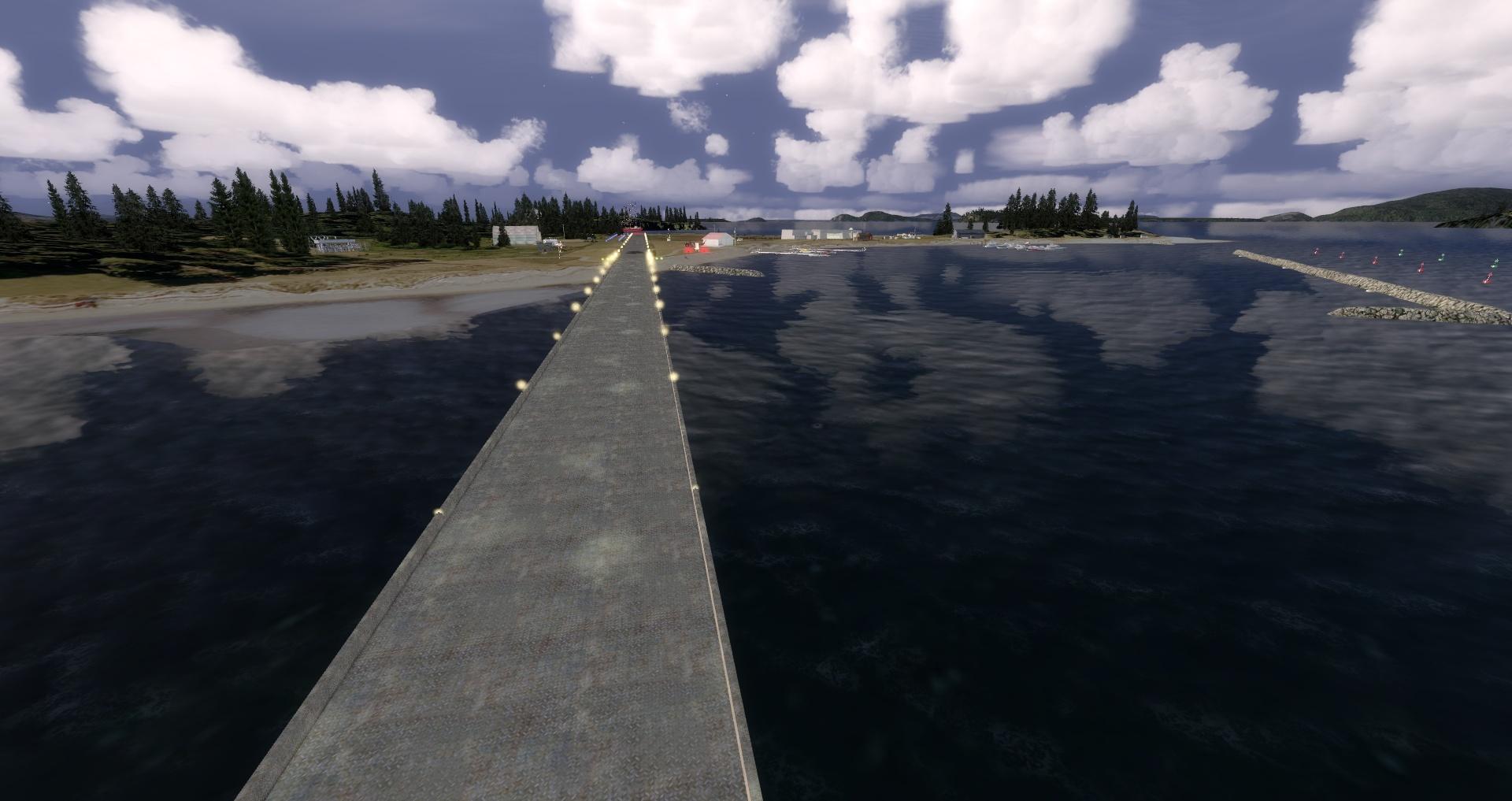 "Mouseviator Private Island - ""Raised"" runway platform at dusk."