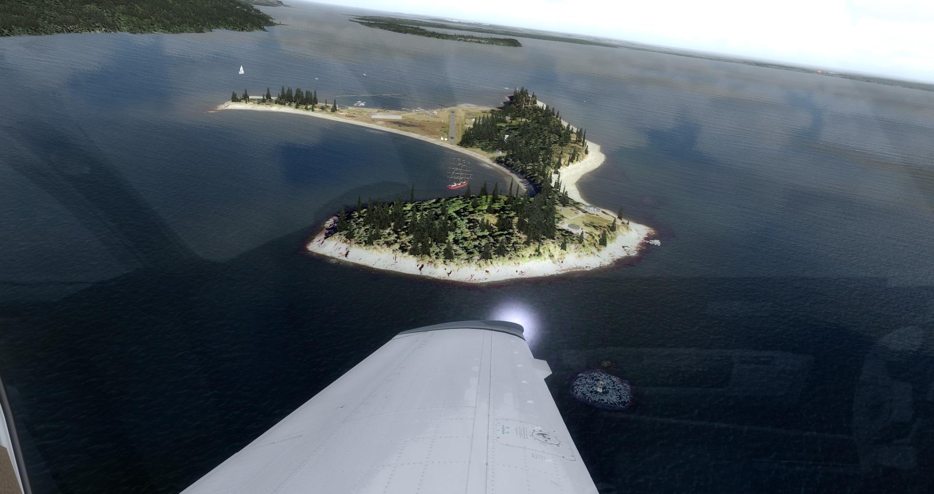 Making turn around the island...