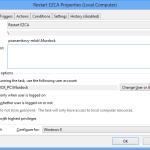 General settings of EZCA Restart scheduled task.