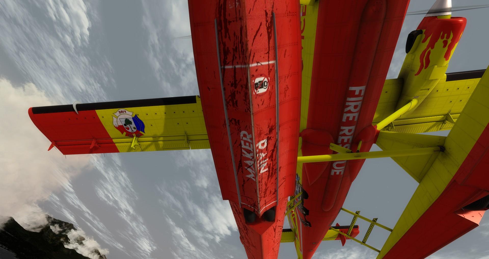 """DHC-6 Twin Otter v barvách SDH Čelákovice - pravý plovák už zažil """"nízký let""""..."""