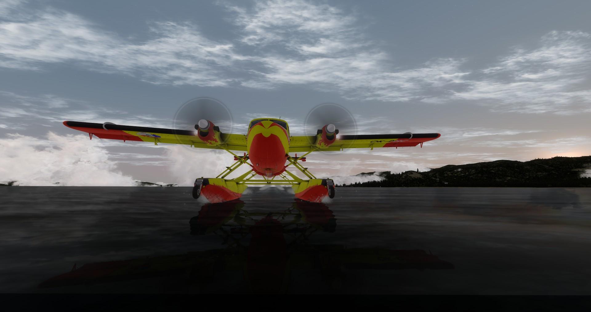 DHC-6 Twin Otter v barvách SDH Čelákovice - přistání na vodě, Lake Tahoe