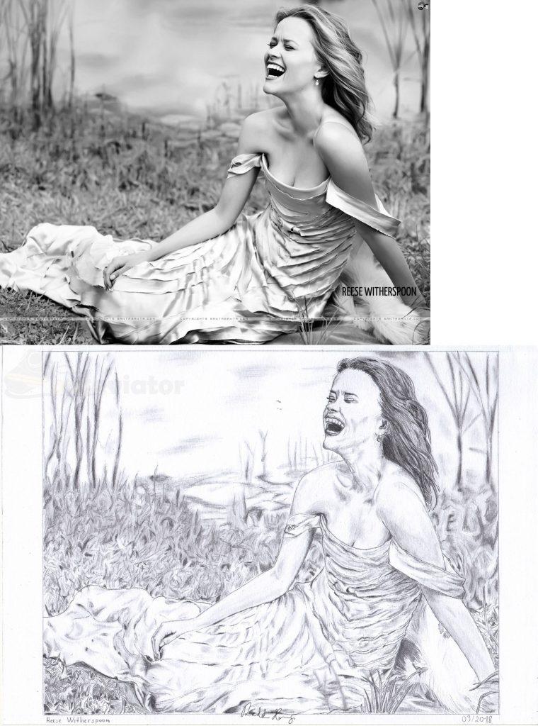 Kresba Reese Witherspoon. 03/2018. Předloha a kresba.