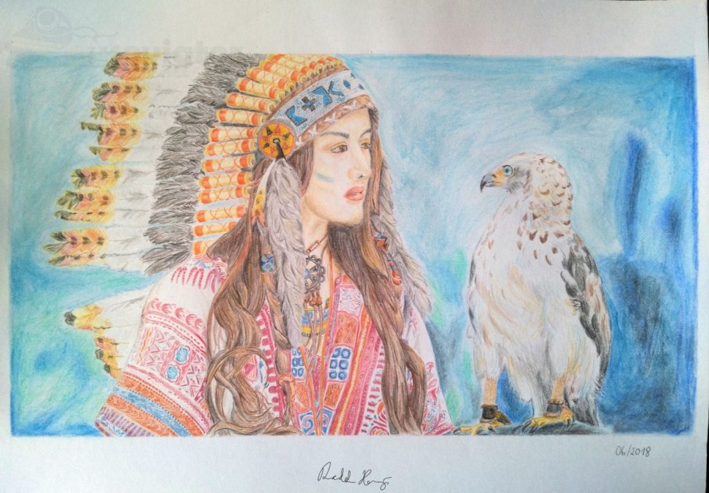Indiánská dívka s orlem