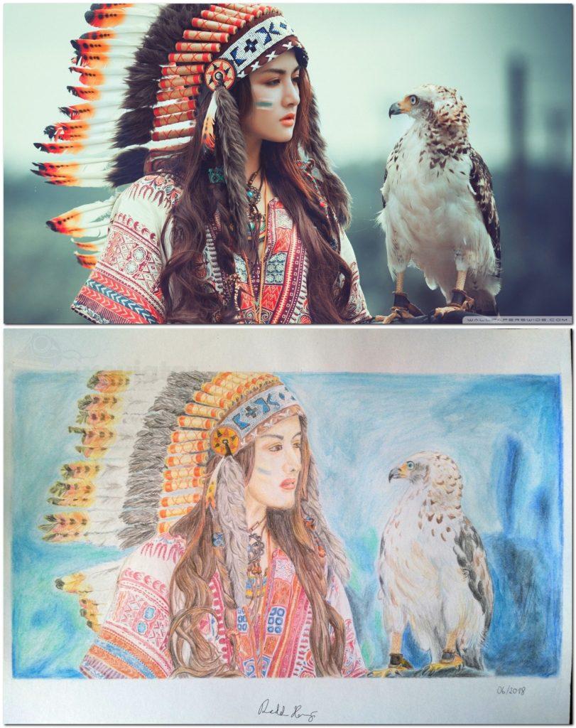 Indiánská dívka s orlem (originál a kresba)