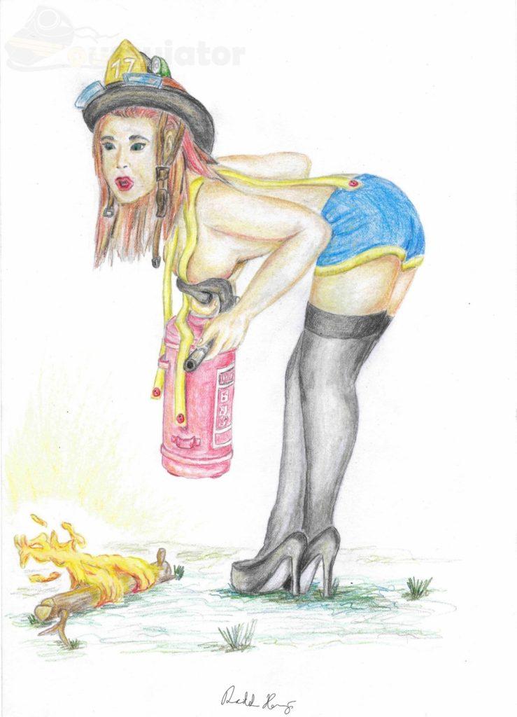 "Pin-up dívka ""Krotitelka plamenů"""